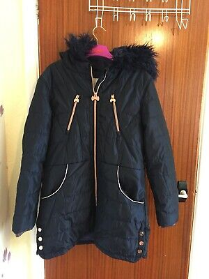 Stunning Genuine Girls Ted Baker Hooded Winter Coat - Superb Condition Aged 14