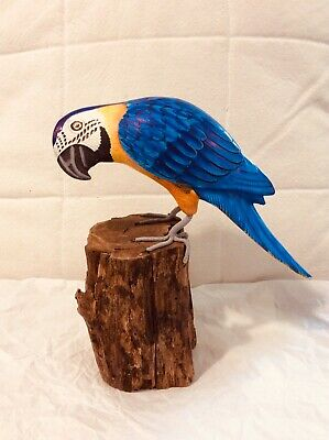 Hand carved wooden parrot hand painted macaw fair trade ornament statue