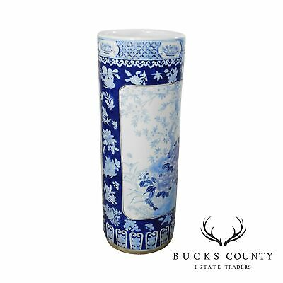 Vintage Chinese Porcelain Blue and White Umbrella Stand