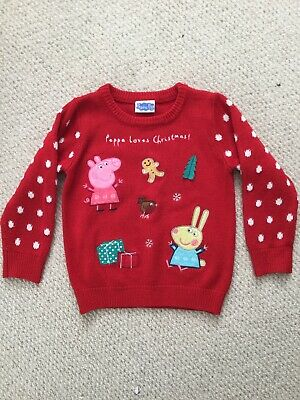 TU Girls 'Peppa Pig Loves Christmas' Red Acrylic Applique Jumper ~ Age 2-3 years