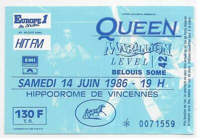 Rare / Ticket Billet Concert - Queen : Freddie Mercury - Live Paris France 1986
