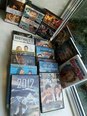 19 assorted dvds 2012,district 9,the invention of lying, michael mcintyre,