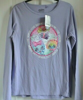 New Next 100% cotton girls 2 way sequin Shopkins top Lilac age 16  years