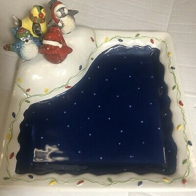 Christmas Snowbird Tray Plate w/ knife Cheese sausage ornaments