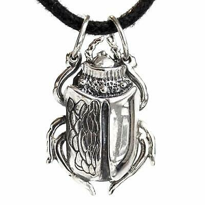 Egyptian Scarab Beetle Pendant Necklace Good Luck Wealth Amulet SILVER HANDMADE