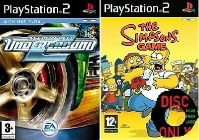 2x Playstation 2 Games NEED FOR SPEED UNDERGROUND 2 & THE SIMPSONS GAME