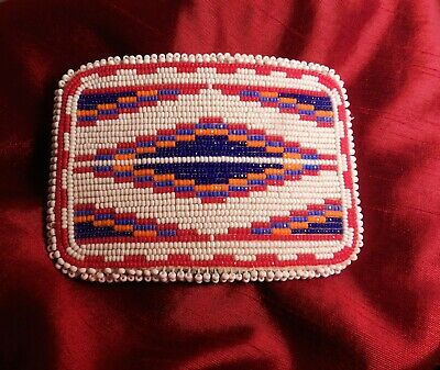 Beautiful Large Vintage Native American Beaded Belt Buckle,Sparkly Cut Beads