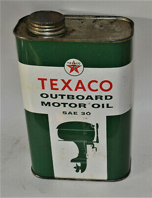 """Vtg Advertising Can Texaco Outboard Motor Oil SAE 30 One Quart 7 1/2"""" Height"""