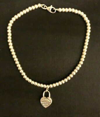 Tiffany & Co. Mini Heart Tag Bracelet Bead Ball 925 Sterling Silver 7.5 in
