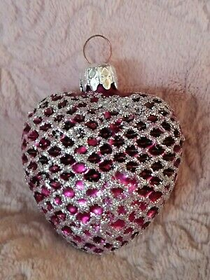 West German Purple w/Silver Glitter Heart Blown Glass Christmas Ornament 2.75""