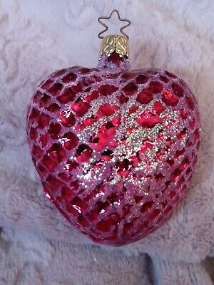 "West German Glittered Dark Pink Heart Blown Glass Christmas Ornament 3.25"" #1"