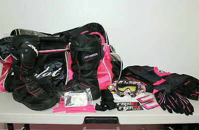 O'Neal Women's Rider Motocross Boots,Pant,Shirt,Gloves,Goggle & More Black Pink
