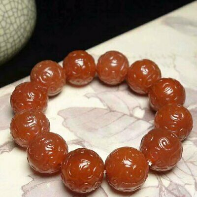 Chinese Tibet Natural Red Agate Beads Bracelet Ruyi Veins Rosary w Certificate