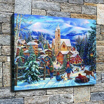 """12""""x16""""Children frolicking in the snow HD canvas photo Home Decor wall poster"""