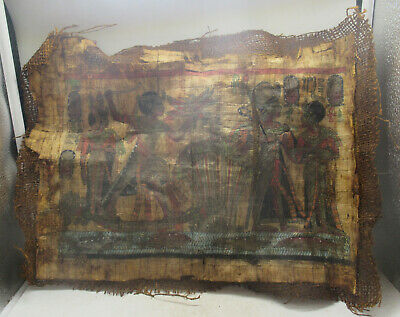 Very Rare Ancient Egyptian Papyrus And Coptic Cloth Section With Heiroglyphics