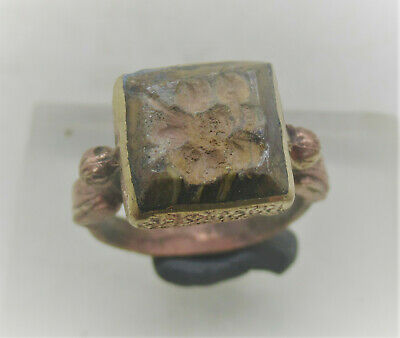 Beautiful Post Medieval Islamic Silver Ring With Agate Intaglio Stone