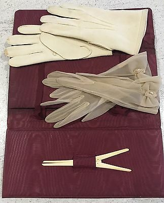Red Leather Glove Holder Case & 2 Pairs Of Gloves & Stretcher Antique Fashion