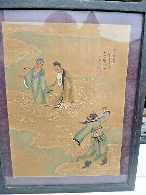 Antique Chinese Immortals Painting on Fabric of a Fable