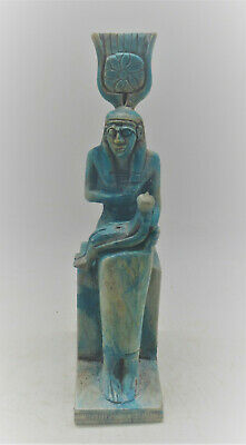 Beautiful Ancient Egyptian Glazed Faience Statuette Isis Nursing Baby Horus