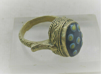 Beautiful Ancient Phoenician Gold Gilded Ring With Mosaic Glass Evil Eye Insert