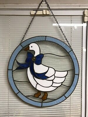 "Large 16"" Round Vintage Leaded Stained Glass Geese Bird Window Hanging"