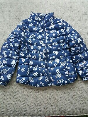 Girls Aged 8 Pretty Navy Blue Daisy Design Quilted Jacket Coat From Zara Girls