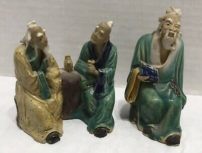 3 Antique Chinese Mud Men Porcelain Ceramic Figurines Statues Hand Painted Robes