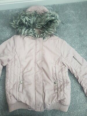 Girls Dusky Pink Fur Trim Hooded Coat From NEXT Age 10