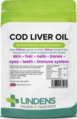COD Liver Oil Capsules (90) STRONG 1000mg Joints, Heart Health Lindens
