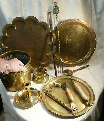 "Job lot Vintage Brass Tray,Wine Dish, Scales,Dog, 20"" Fork,Planter,Chamberstick"