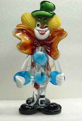 "Murano Art Glass 8"" Hand Blown Multi-Color Clown Figurine #399"