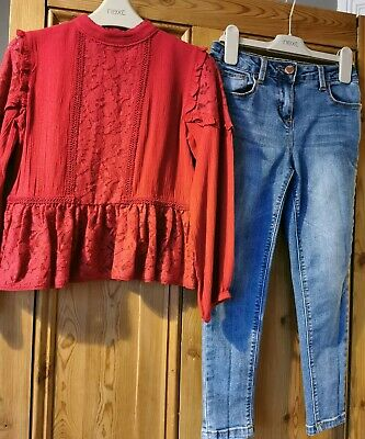 Girls BNWT Red Lace Next Top & Jeans Age 7-8 Xmas day outfit