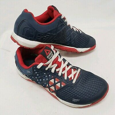 Mens Reebok CF74 Crossfit USA Training Shoes Size 8.5 Lifting Gym Flag Blue Red