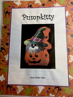 Pumpkitty-Janet Zickler Casey-Outlined Needlepoint Pattern-Stitch Guide