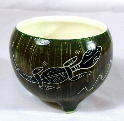 Vintage Florenz Aboriginal Style Decorated 3 Footed Vase With Original Sticker