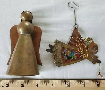 Vintage Christmas Angels brass and copper colored stones christmas ornament