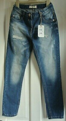 New Next  girls distressed Jeans Blue age 10 years Relaxed Skinny