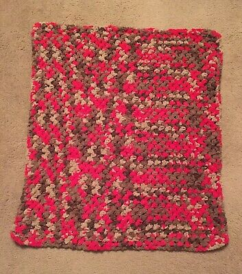 """Brand New Hand Crocheted PLUSH Baby Afghan Blanket Red Tan & Brown Tone 31 x 33"""""""