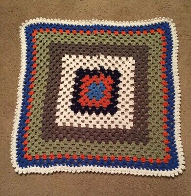 """Brand New Hand Crocheted Baby Afghan Blanket Multi-Color Granny Square 28 x 28"""""""