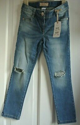 New Next  girls distressed Jeans Blue age 7 years Relaxed Skinny