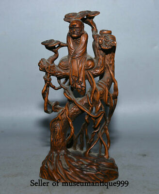 "6"" Old China Buddhism Boxwood Wood Carved Lohan Arhat Buddha Pine Tree Sculpture"