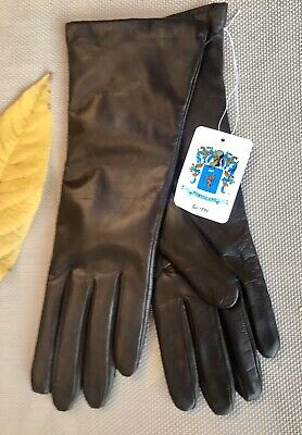 New Portolano Sz 7.5 Brown Leather Gloves Long 100% Cashmere Lined Women's $140