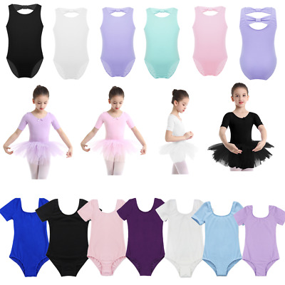 Girls Ballet Dancer Dance Dress Kids Gymnastics Sleeveless Leotards Tutu Costume