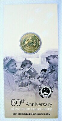 2007 Australia $1 UNC Carded Coin CAT $20 60th Anniversary of Peace Keeping