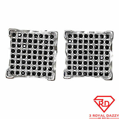 Black Cubic Zirconia Stud Earrings big square White Gold