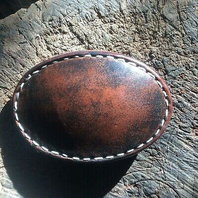 Genuine Leather Buckle with Relic / Worn Style Finish & Hand Stitching