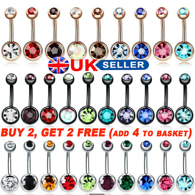 Double Gem Surgical Steel Belly Bars Navel Button Bar Body Piercing Jewellery UK