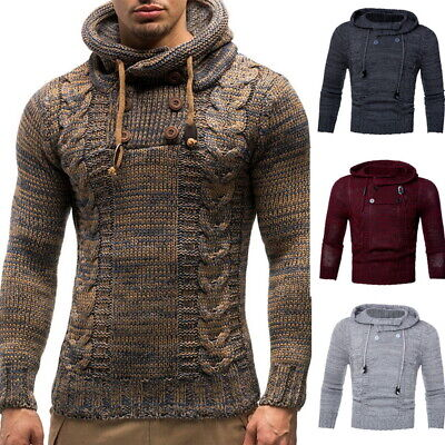 Stylish Mens Casual Slim Fit Knitted Hooded Sweaters Warm Pullover Tops GIFT