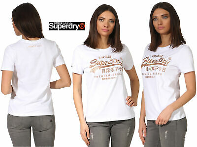 SUPERDRY LOGO EMB Outline Entry Tee Freizeit T Shirt Damen