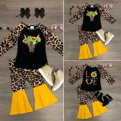 AU Leopard Print Newborn Toddler Baby Girls Clothes Tops Long Pants Outfit Sets